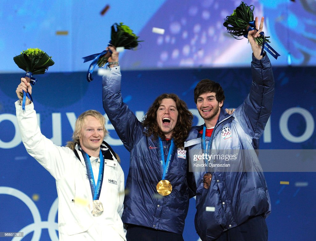 Peetu Piiroinen of Finland celebrates winning the Silver, Shaun White of United States Gold, and Scott Lago of United States Bronze during the medal ceremony for the Men�s Halfpipe on day 7 of the Vancouver 2010 Winter Olympics at BC Place on February 18, 2010 in Vancouver, Canada.
