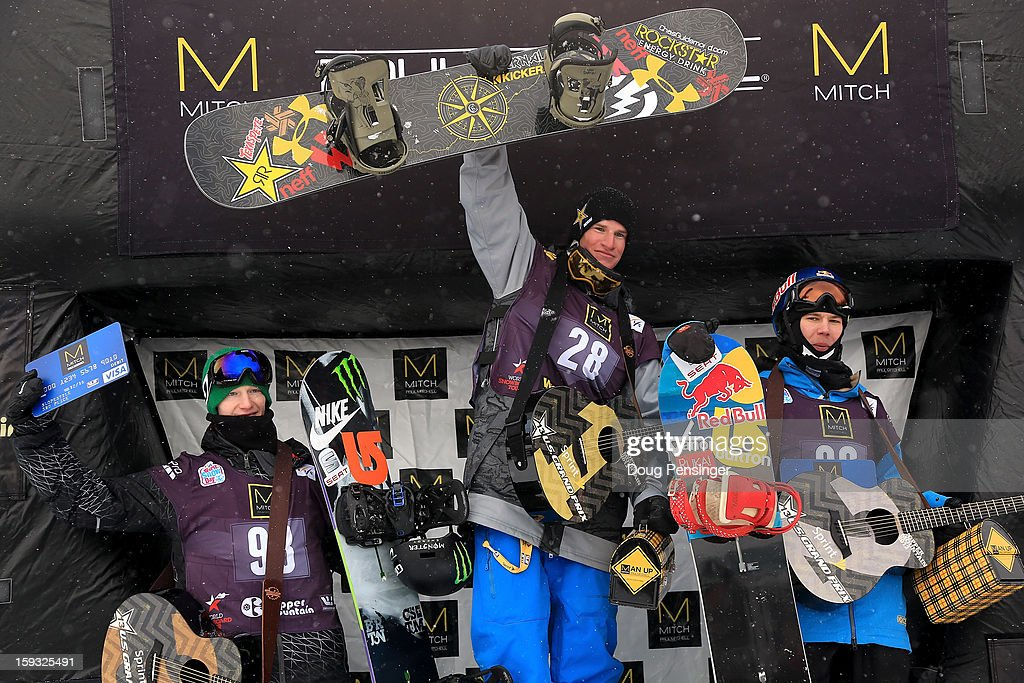 Peetu Piiroinen of Finland in third place, Chaz Guldemond of the USA in first place and Roope Tonteri of Finland in second place take the podium in the men's FIS Snowboard Slope Style World Cup at the US Grand Prix on January 11, 2013 in Copper Mountain, Colorado.
