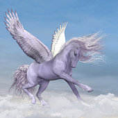 Silver white Pegasus plays and frolics among fluffy cumulus clouds.