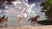 Pegasus and horses galloping across the lake