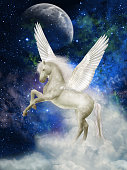 Pegasus in the sky with clouds
