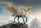 Pegasus on a cliff scene 3D illustration