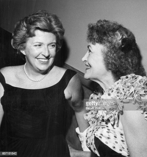 Peggy Cass one of the show stars chats with Miss Eleanore Weckbaugh who will entertain for the cast on Aug 8 Credit Denver Post