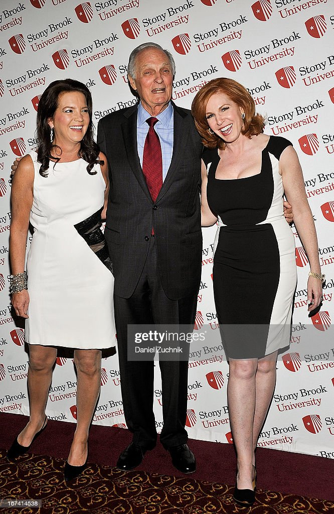 Peggy Gelfond, Alan Alda and Liz Claman attend the 2013 Stars Of Stony Brook Gala at Pier 60 on April 24, 2013 in New York City.
