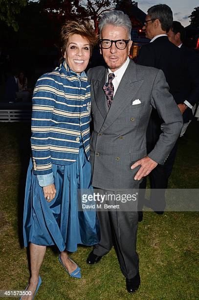 Peggy Siegal and Nicky Haslam attend The Serpentine Gallery Summer Party cohosted by Brioni at The Serpentine Gallery on July 1 2014 in London England