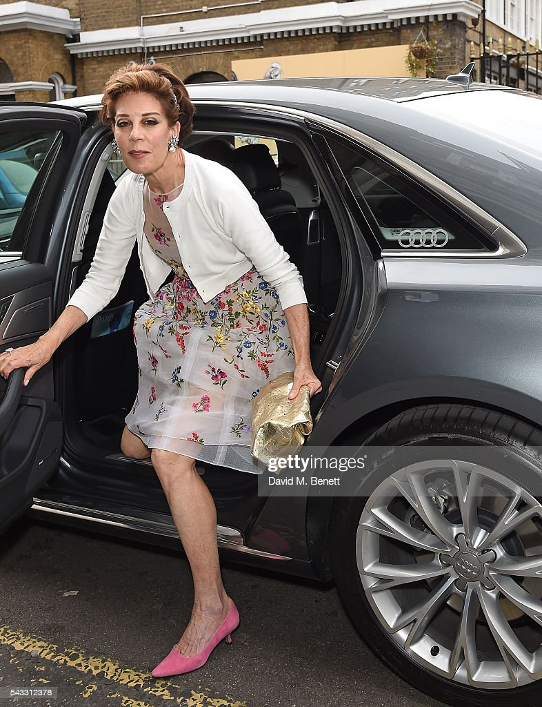 Peggy Siegal arrives in an Audi at The Old Vic Summer Gala on June 27, 2016 in London, England.