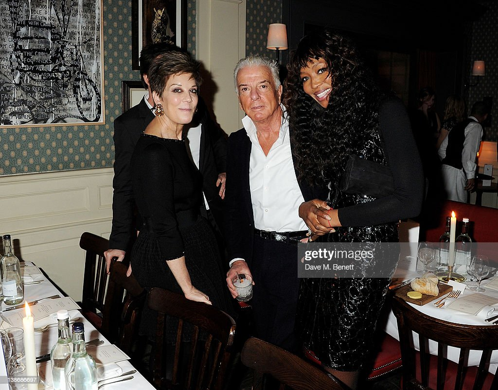 Peggy Siegal, Nicky Haslam and <a gi-track='captionPersonalityLinkClicked' href=/galleries/search?phrase=Naomi+Campbell&family=editorial&specificpeople=171722 ng-click='$event.stopPropagation()'>Naomi Campbell</a> attend The Weinstein Company Dinner Hosted By Grey Goose in celebration of BAFTA at Dean Street Townhouse on February 10, 2012 in London, England.