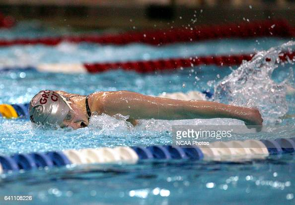 Peggy Whitbeck of Grove City swims her way toward a first place finish in the women's 200 yard butterfly final with during the Division 3 Women's...