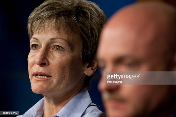 Peggy Whitson chief of astronaut office speaks at a press conference where Mark Kelly astronaut and husband of Rep Gabrielle Giffords announced his...
