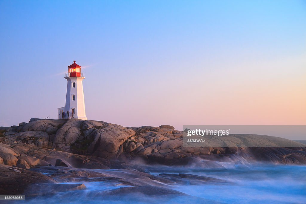 Peggy`s Cove Lighthouse at Dusk : Stock Photo