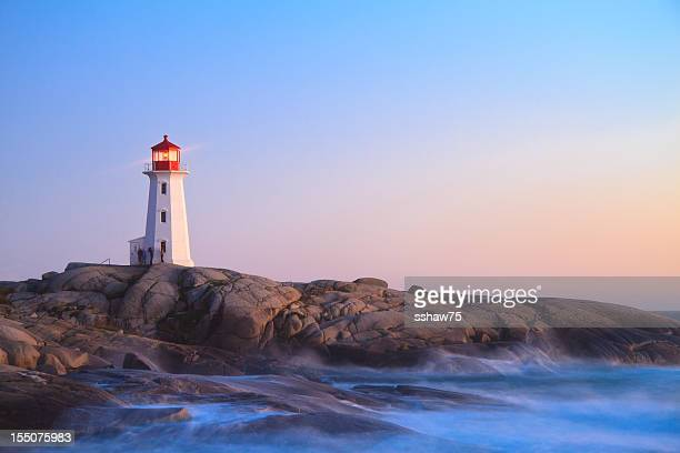 Peggy`s Cove Lighthouse at Dusk
