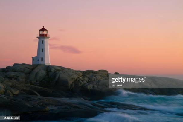 Peggy`s Cove Lighthouse at Dusk