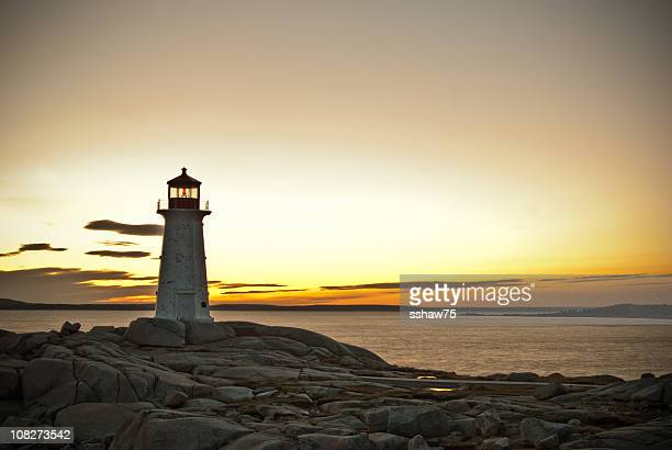 Peggy's Cove Lighthouse at Sunset Landscape