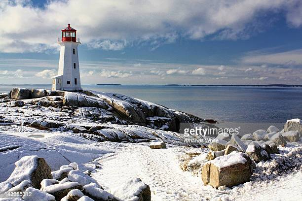 Peggy's Cove lighthouse in snow