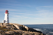 Peggy's Cove Lighthouse on rocky shores of Nova Scotia, Canada against blue skies on sunny day.
