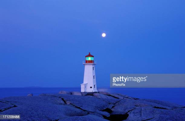 Peggy's cove lighthouse with a full moon