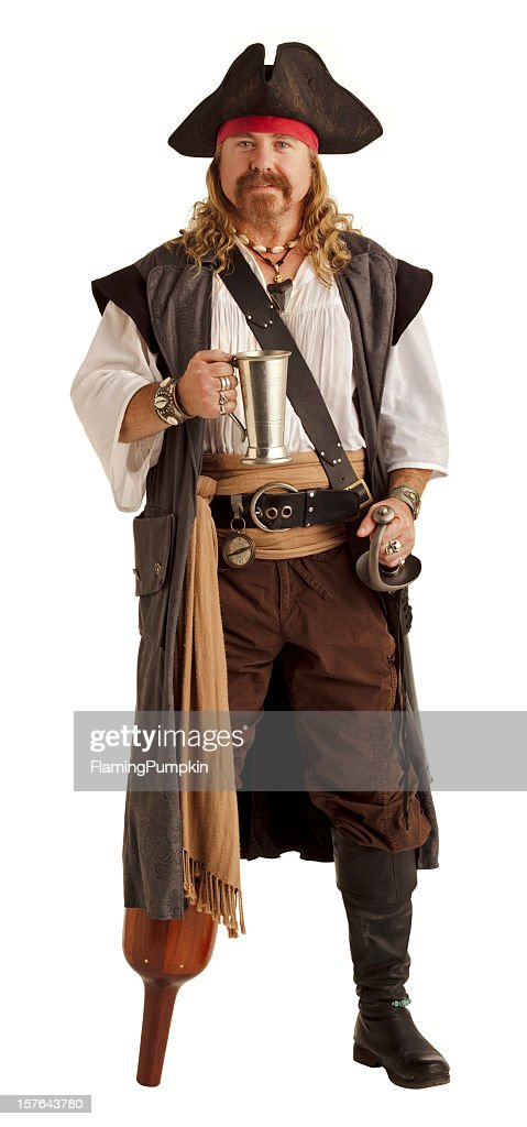 Pirate, Silver Cup and Wooden Pegleg. Isolated on White. XL