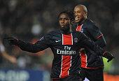 Peguy Luyindula celebrates during the 20082009 UEFA Cup soccer match between Paris Saint Germain and Real Racing Club
