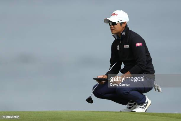 Pei Yan Chien of Chinese Taipei looks on during the first round of the Ricoh Women's British Open at Kingsbarns Golf Links on August 3 2017 in...