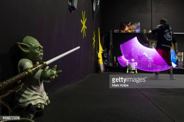 A peice Yoda memoribilla is seen as students take part in a training class at the Sons of Obiwan Saber Academy on June 27 2017 in Sydney Australia...