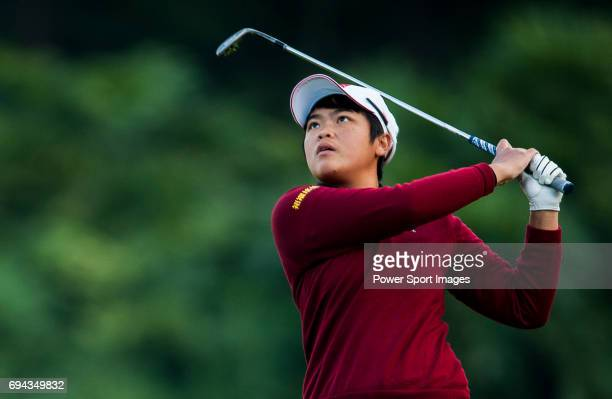 PeiYun Chien of Chinese Taipei plays a shot during the Hyundai China Ladies Open 2014 on December 13 2014 at Mission Hills Shenzhen in Shenzhen China