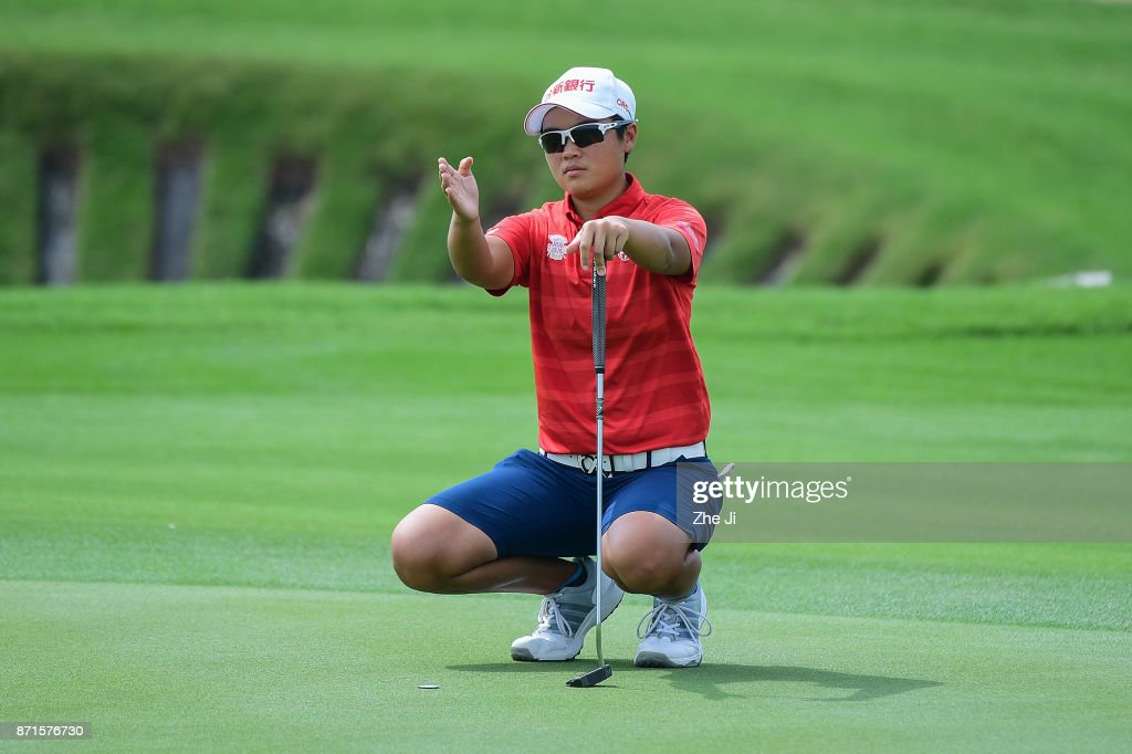 Peiyun Chien of Chinese Taiwan plays in action on the 12th hole during the first round of the Blue Bay LPGA at Jian Lake Blue Bay golf course on November 8, 2017 in Hainan Island, China.