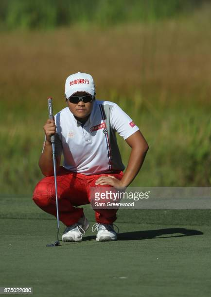 Peiyun Chien of Taiwan lines up a putt on the eighth green during round one of the CME Group Tour Championship at the Tiburon Golf Club on November...