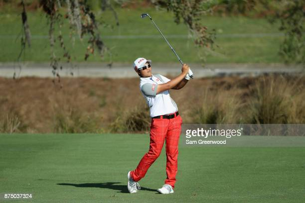 Peiyun Chien of Taiwan plays a shot on the ninth hole during round one of the CME Group Tour Championship at the Tiburon Golf Club on November 16...