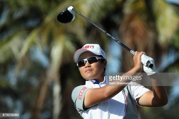 Peiyun Chien of Taiwan plays her shot from the ninth tee during round one of the CME Group Tour Championship at the Tiburon Golf Club on November 16...