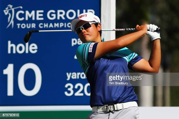 Peiyun Chien of Taiwan plays her shot from the tenth tee during round three of the CME Group Tour Championship at the Tiburon Golf Club on November...
