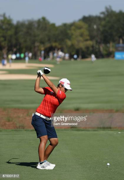 Peiyun Chien of Taiwan plays her shot from the third tee during round two of the CME Group Tour Championship at the Tiburon Golf Club on November 17...