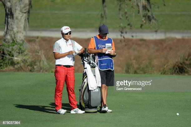 Peiyun Chien of Taiwan prepares to play a shot on the ninth hole during round one of the CME Group Tour Championship at the Tiburon Golf Club on...