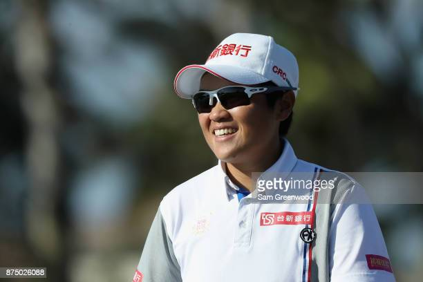 Peiyun Chien of Taiwan reacts on the ninth hole during round one of the CME Group Tour Championship at the Tiburon Golf Club on November 16 2017 in...