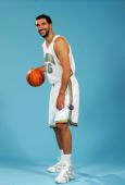 Peja Stojakovic of the New Orleans/Oklahoma City Hornets poses for a portrait following his press conference on July 12 2006 at Thomas Mac Center in...