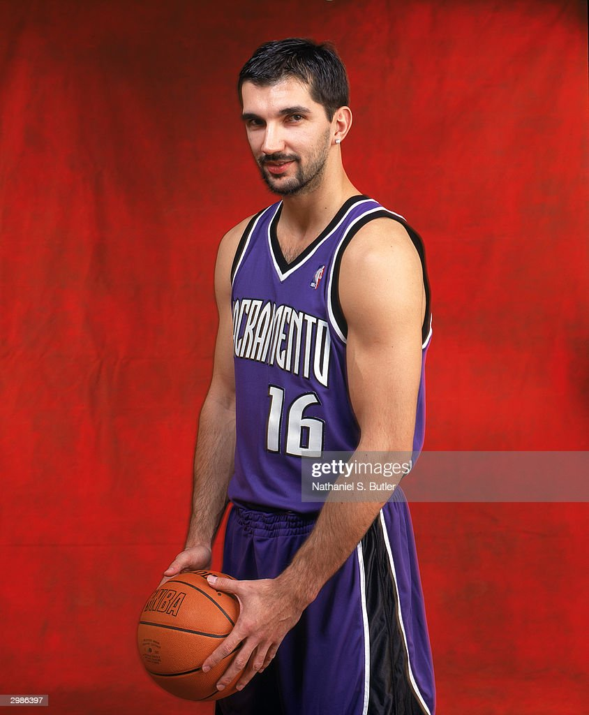 Peja Stojakovic of the Sacramento Kings poses for a portrait before competing in the Foot Locker 3Point Shootout on February 14 part of the 2004...