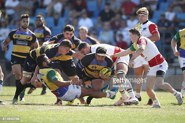 Pekahou Cowan of the Spirit is tackled during the NRC Semi Final match between the Sydney Rays and Perth Spirit at Pittwater Park on October 16 2016...