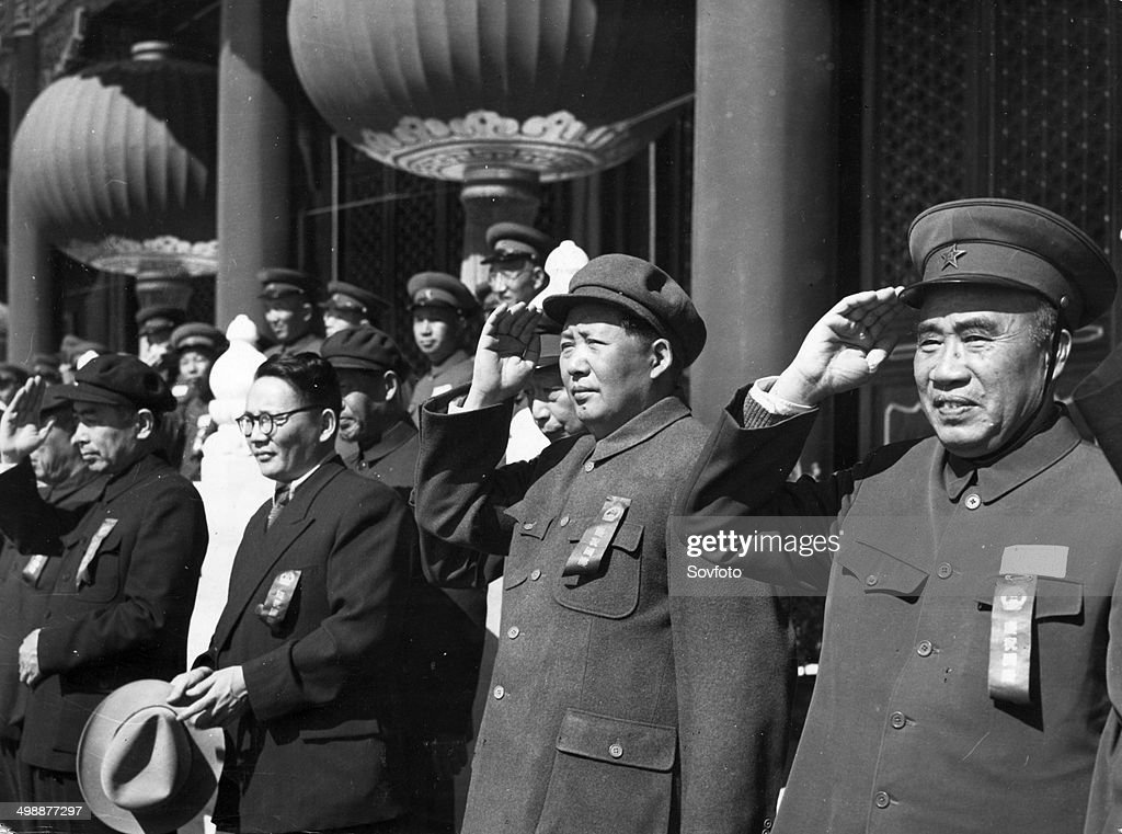 Peking celebrates Third National Day October 1 1952 Leaders of the Central People's Government and Y Tsedenbal Prime Minister of the People's...