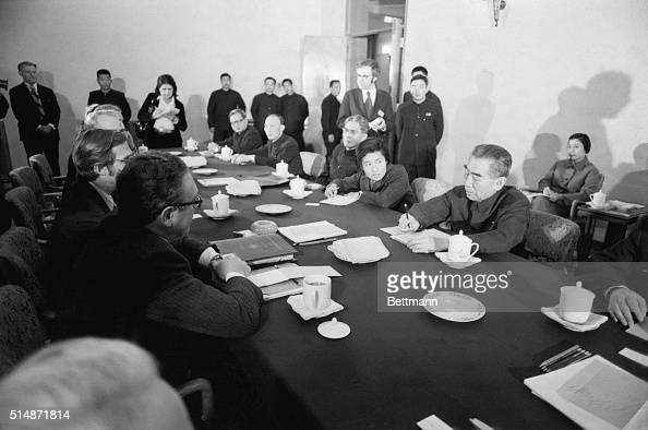 Final negotiating session between secretary of State Kissinger and Chou En Lai in te Secretary's villa on Chou's right Translator Chiao Kuan Hua...