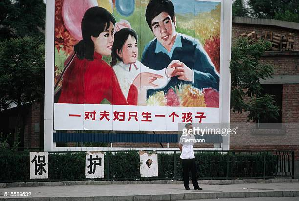 1983 Peking China Giant billboards throughout China encourage Chinese couples to have only one child in the modernization drive to limit China's...