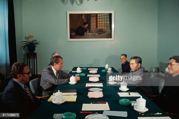 Peking China President Richard Nixon and Premier Chou EnLai and their aides including Henry Kissinger begin the third day of formal talks this time...