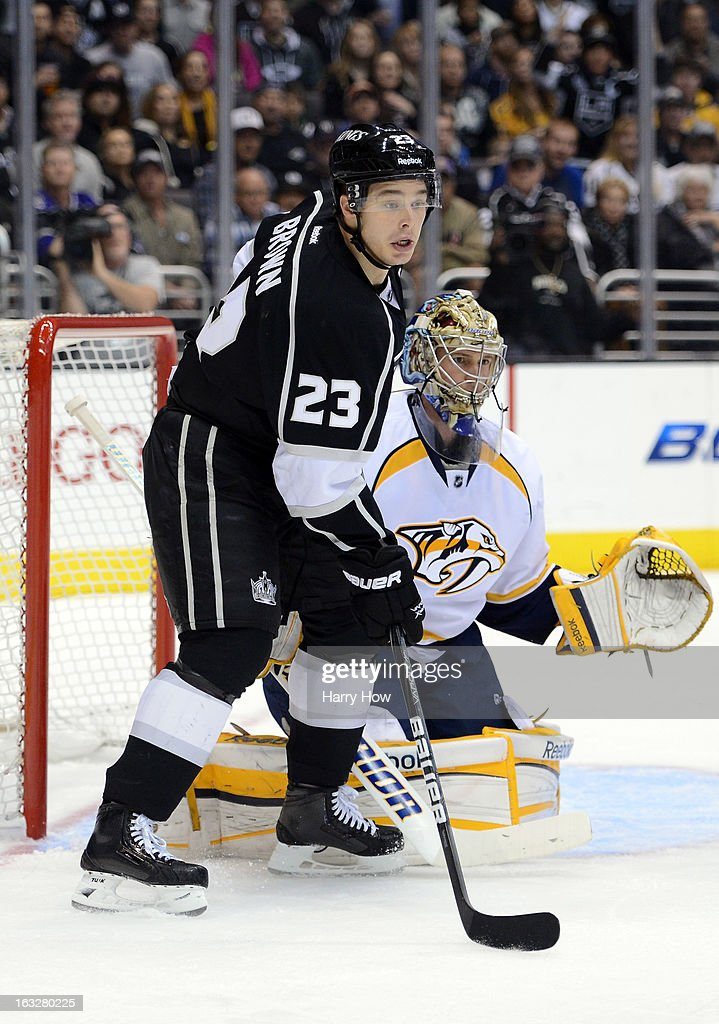 <a gi-track='captionPersonalityLinkClicked' href=/galleries/search?phrase=Pekka+Rinne&family=editorial&specificpeople=2118342 ng-click='$event.stopPropagation()'>Pekka Rinne</a> #35 of the Nashville Predators and Dustin Brown #23 of the Los Angeles Kings wait for a shot at Staples Center on March 4, 2013 in Los Angeles, California.