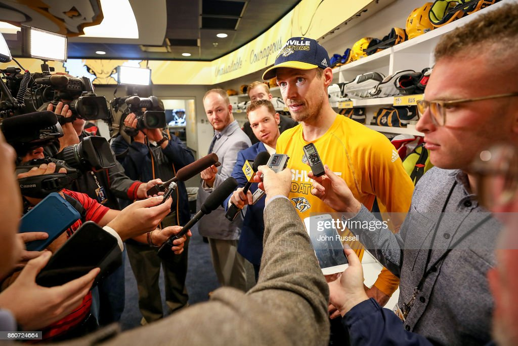 Pekka Rinne #35 of the Nashville Predators answers questions from the media following a 4-1 win against the Dallas Stars during an NHL game at Bridgestone Arena on October 12, 2017 in Nashville, Tennessee.