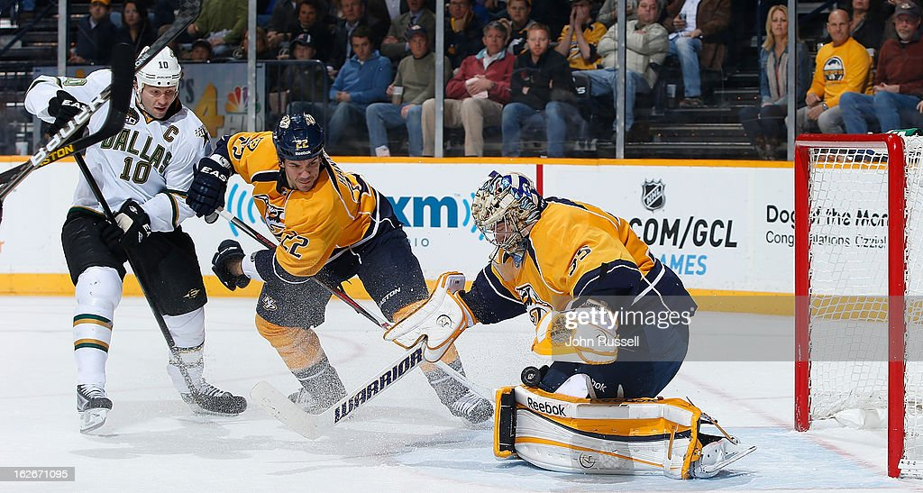 <a gi-track='captionPersonalityLinkClicked' href=/galleries/search?phrase=Pekka+Rinne&family=editorial&specificpeople=2118342 ng-click='$event.stopPropagation()'>Pekka Rinne</a> #35 of the Nashville Predators blocks a shot against <a gi-track='captionPersonalityLinkClicked' href=/galleries/search?phrase=Brenden+Morrow&family=editorial&specificpeople=202256 ng-click='$event.stopPropagation()'>Brenden Morrow</a> #10 of the Dallas Stars as <a gi-track='captionPersonalityLinkClicked' href=/galleries/search?phrase=Scott+Hannan&family=editorial&specificpeople=203195 ng-click='$event.stopPropagation()'>Scott Hannan</a> #22 defends during an NHL game at the Bridgestone Arena on February 25, 2013 in Nashville, Tennessee.