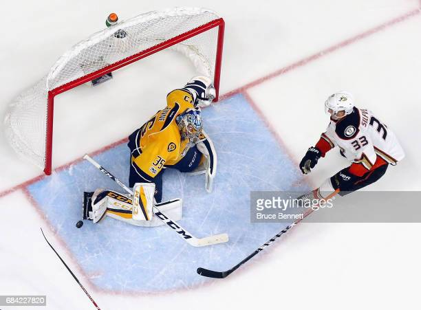Pekka Rinne of the Nashville Predators defends against Jakob Silfverberg of the Anaheim Ducks in Game Three of the Western Conference Final during...