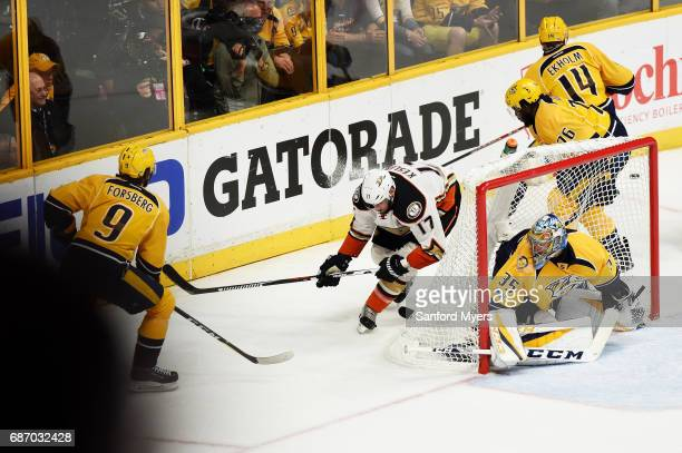 Pekka Rinne of the Nashville Predators defends against Ryan Kesler of the Anaheim Ducks during the second period in Game Six of the Western...