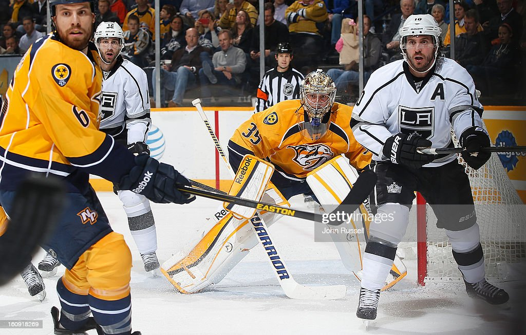 <a gi-track='captionPersonalityLinkClicked' href=/galleries/search?phrase=Pekka+Rinne&family=editorial&specificpeople=2118342 ng-click='$event.stopPropagation()'>Pekka Rinne</a> #35 of the Nashville Predators eyes the play along the boards against the Los Angeles Kings during an NHL game at the Bridgestone Arena on February 7, 2013 in Nashville, Tennessee.