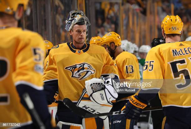Pekka Rinne of the Nashville Predators gets a break in action against the Dallas Stars during an NHL game at Bridgestone Arena on October 12 2017 in...