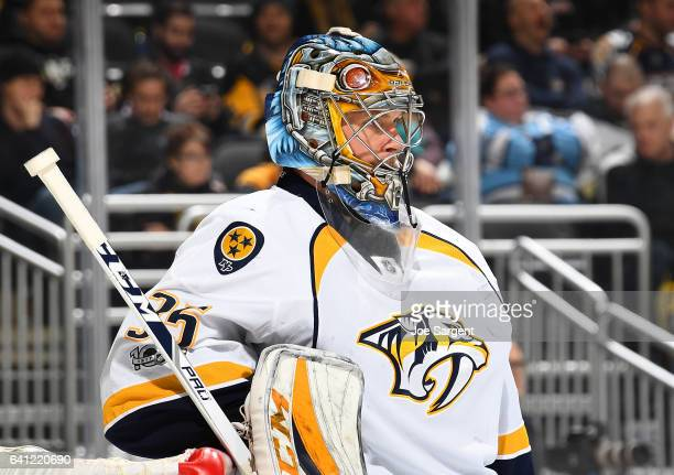 Pekka Rinne of the Nashville Predators looks on against the Pittsburgh Penguins at PPG Paints Arena on January 31 2017 in Pittsburgh Pennsylvania