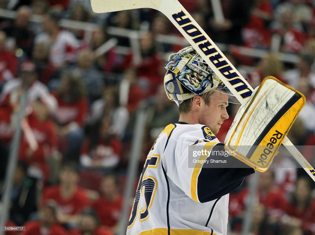 <a gi-track='captionPersonalityLinkClicked' href=/galleries/search?phrase=Pekka+Rinne&family=editorial&specificpeople=2118342 ng-click='$event.stopPropagation()'>Pekka Rinne</a> #35 of the Nashville Predators looks on while playing the Detroit Red Wings during Game Three of the Western Conference Quarterfinals during the 2012 NHL Stanley Cup Playoffs at Joe Louis Arena on April 15, 2012 in Detroit, Michigan. Nashville won the game 3-2 and lead the series 2-1.