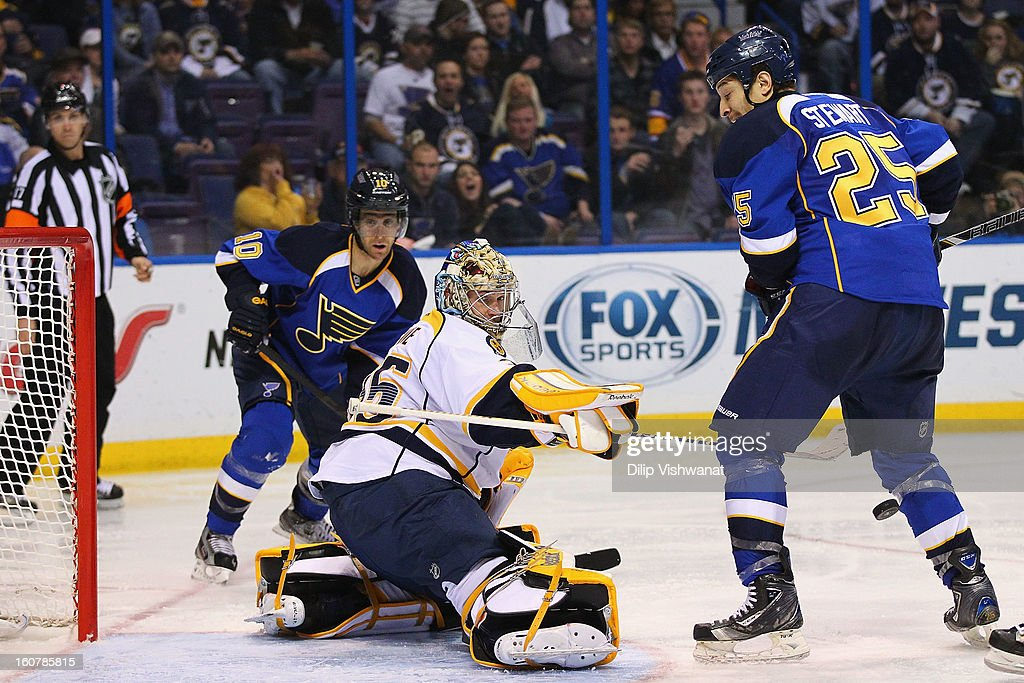 <a gi-track='captionPersonalityLinkClicked' href=/galleries/search?phrase=Pekka+Rinne&family=editorial&specificpeople=2118342 ng-click='$event.stopPropagation()'>Pekka Rinne</a> #35 of the Nashville Predators makes a save against Chris Stewart #25 of the St. Louis Blues at the Scottrade Center on February 5, 2013 in St. Louis, Missouri.